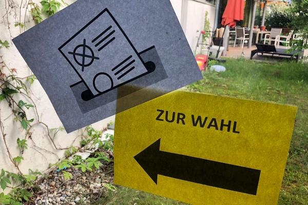 """Schild """"Zur Wahl"""" bei Helfende Hände"""